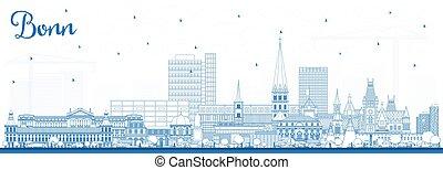 ciudad, azul, contorno, contorno, alemania, edificios., bonn