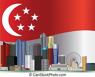 ciudad, bandera, contorno, ilustración, singapur