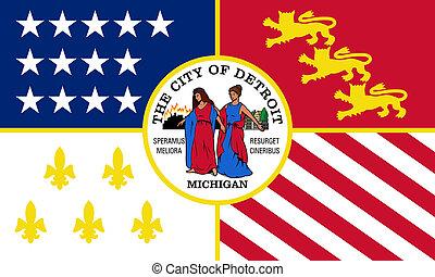 ciudad, bandera, detroit