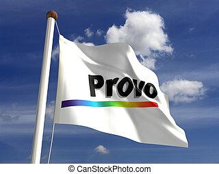 ciudad, bandera, utah, provo