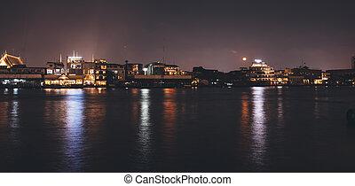 ciudad, bangkok, contorno, noche, cityscape, tailandia,...