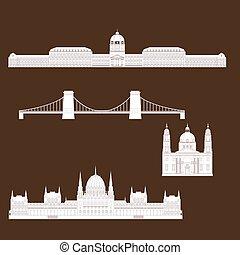 ciudad, basílica, elementos, húngaro, cadena, budapest, ...