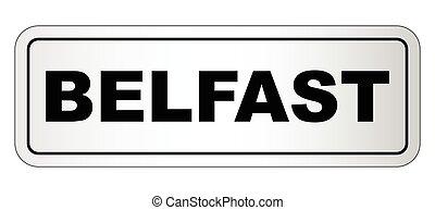 ciudad, belfast, letrero nombre
