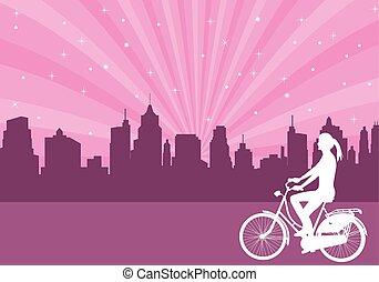 ciudad, bicicleta, resumen, plano de fondo, equitación, niña