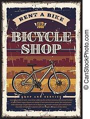 ciudad, bicicleta, shop., bicicleta, o, transporte