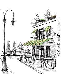 ciudad, bosquejo, calle, restaurante, terraza, vector, retro, vista
