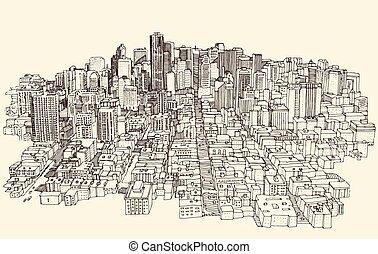 ciudad, bosquejo, grande, ilustración, arquitectura, grabado