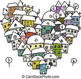ciudad, bosquejo, invierno, corazón, amor, forma, diseño, su