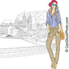 ciudad, bosquejo, moda, viejo, vector, elegante, niña