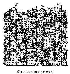 ciudad, bosquejo, plano de fondo, para, su, diseño