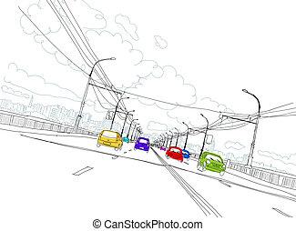 ciudad, bosquejo, tráfico, diseño, su, camino