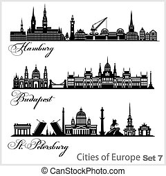 ciudad, budapest, santo, vector, -, europa, hamburg., ...