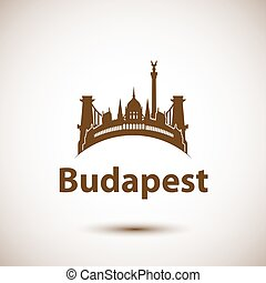 ciudad, budapest, señales, contorno, vector, hungría