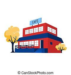 ciudad, buiding, café, rojo, ilustración