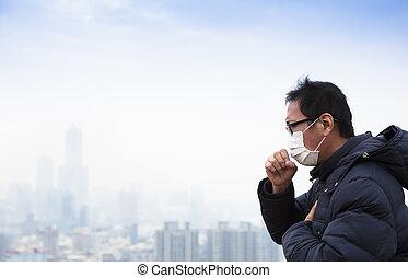 ciudad, cáncer, pacientes, pulmón, plano de fondo, niebla tóxica