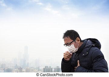 ciudad, cáncer, pacientes, pulmón, plano de fondo, niebla ...