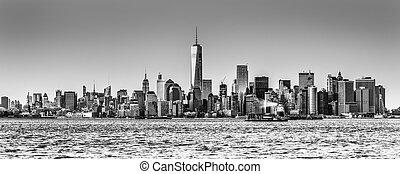 ciudad, céntrico, contorno, york, nuevo, manhattan