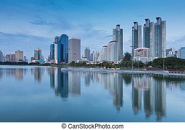 ciudad, céntrico, parque acuático