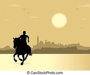 ciudad, caballo