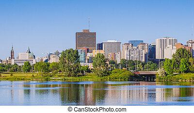 ciudad, capitolio, y, ottawa, contorno, río
