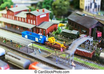 ciudad, carril, miniature., tren, modelo, station.
