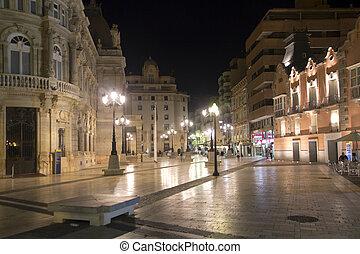 ciudad, cartagena, calles, iluminación, noche, españa