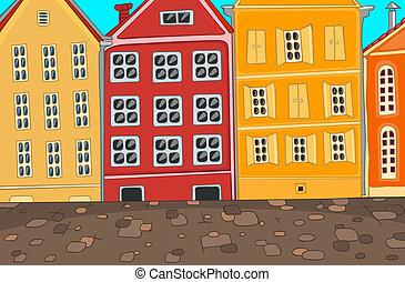 ciudad, cartoon.