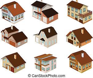 ciudad, casas, en, perspectiva