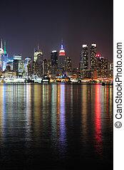 ciudad, centro de la ciudad, contorno, york, noche, nuevo, manhattan