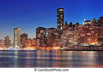 ciudad, centro de la ciudad, contorno, york, nuevo, manhattan