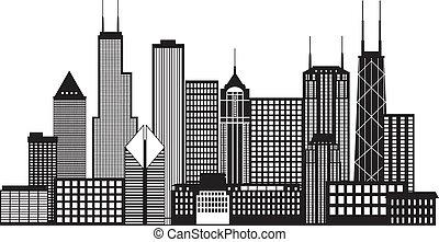 ciudad, chicago, ilustración, contorno, negro, blanco