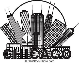 ciudad, chicago, ilustración, contorno, negro, círculo...