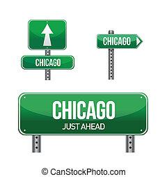 ciudad, chicago, muestra del camino