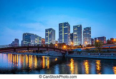 ciudad, china, beijing, cbd, skyline.