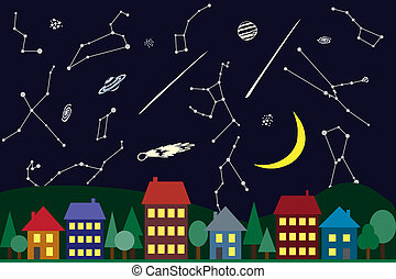 ciudad, cielo, sobre, ilustración, noche