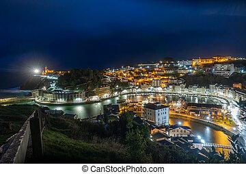 ciudad, cima, noche, luarca, vista, exposición, largo