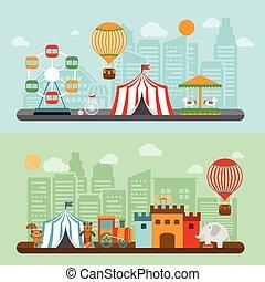 ciudad, circo, conjunto, banderas, plano