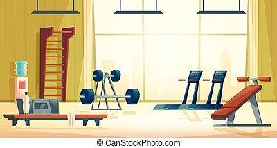 ciudad, club, gimnasio, vector, interior, deporte, ...