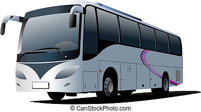 ciudad, coach., vector, bus., ilustración