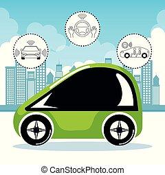 ciudad, coches, sistema, ilustración, radio, vector, plano ...