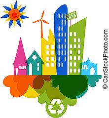 ciudad, colorido, ir, verde, reciclar, icono