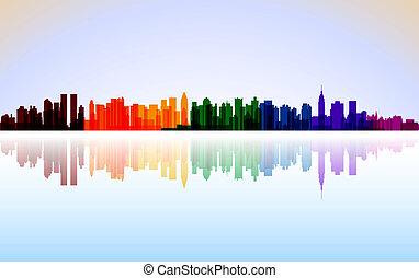 ciudad, colorido, panorama, vector, york, nuevo