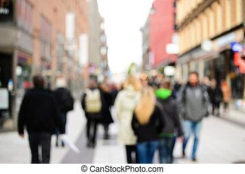 ciudad, compras, multitud, gente