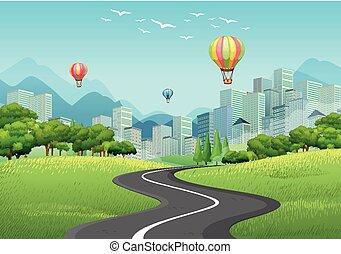 ciudad, con, alto, edificios, y, globos