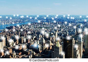 ciudad, concepto, internet, cosas