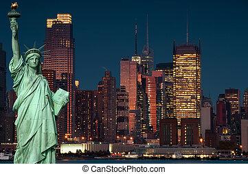 ciudad, concepto, libertad, york, estatua, nuevo, turismo