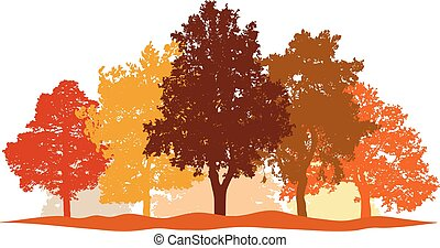 ciudad, conjunto, silueta, vector., parque, aislado, árboles, bosque de otoño, plano de fondo, paisaje
