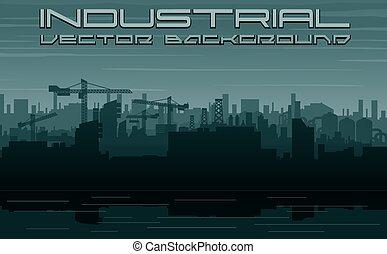 ciudad, construcción, industry., paisaje urbano