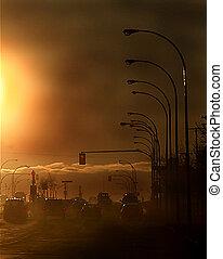 ciudad, contaminación