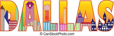 ciudad, contorno, dallas, color, texto, ilustración, ...